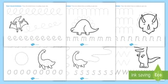 Dinosaur Pencil Control Activity Sheets - dinosaurs, dinosaur pencil control worksheets, dinosaur themed writing worksheets, pencil control worksheet, eyfs