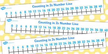 Counting in 2s Number Line - Counting, Numberline, Number line, Counting on, Counting back, even numbers, foundation stage numeracy, counting in 2s, numeracy, number line, counting, counting in 2