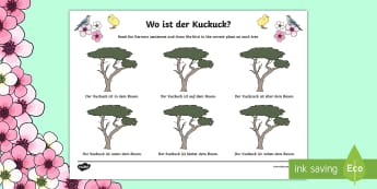 Spring Themed Location Prepositions Read and Draw Activity Sheet-German - Spring, Frühling, Prepositions, location words, German