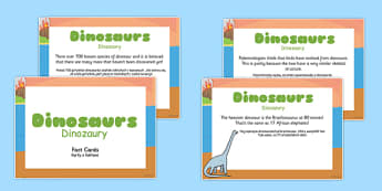 Dinosaur Display Fact Cards Polish Translation - polish, dinosaur, display, fact cards