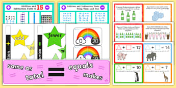 Addition and Subtraction Display Pack KS1 Year 1 - maths, mathematics, add, subtract, plus, minus, take away, display