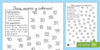 Ficha de actividad: ¡Tira, suma y colorea! - Los múltiplos - multiplicación, multiplicar, múltiplos, dado, dados, tira, suma, colorea, multiplica, mates, matem