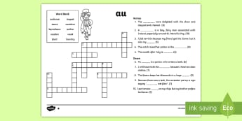 ROI 'au' Sound Differentiated Crossword - vowel diagraph, reading, first class, second class, 1st class, 2nd class, jolly phonics, jolly gramm