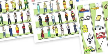 People Who Help Us Display Borders - Display border, classroom border, border, Doctor, Nurse, Teacher, Police, Fire fighter, Paramedic, Builder, Caretaker, Lollipop, Traffic Warden, Lunchtime supervisor, lunch time assistant
