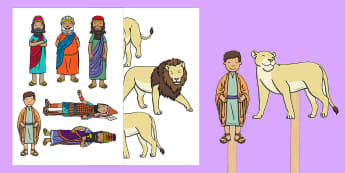 Daniel And The Lions Den Stick Puppets - Daniel and the Lions, Daniel, Lions, lion pit, story, story book, story sequencing, story resources, stick puppet, Babylon, King Darius, governors, God, pray, den, bible story, bible