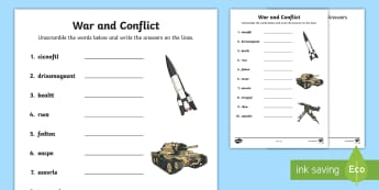 War and Conflict Word Unscramble - vocabulary, keywords, literacy, English, anagram,Scottish
