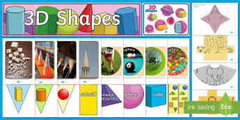 3D Shapes Discover and Learn Display Pack - KS1 Maths, 3d shapes, display pack, doscvoer and learn