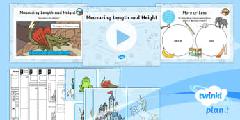 PlanIt Y1 Measurement Lesson Pack - Measurement, length and height, measuring, non-standard units, practical.