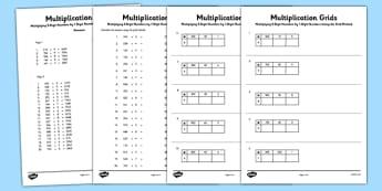 Multiplying 3 Digit Numbers by 1 Digit Numbers Using Grid Method Activity Sheet Pack - Multiplication, grid method, worksheet