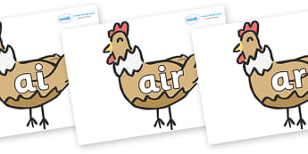 Phase 3 Phonemes on French Hens - Phonemes, phoneme, Phase 3, Phase three, Foundation, Literacy, Letters and Sounds, DfES, display
