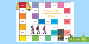 Gra planszowa Dodawanie do 20 Przejażdżka autobusem szkolnym - planszówka, suma, dodać, dodaj, matematyka, początkowa, zabawa,Polish