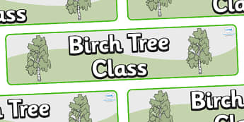 Birch Tree Themed Classroom Display Banner - Themed banner, banner, display banner, Classroom labels, Area labels, Poster, Display, Areas