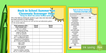 Back to School Summer Fun Classmate Scavenger Hunt ack to School Summer Fun Classmate Scavenger Hunt English/Afrikaans - Back to School Summer Fun Classmate Scavenger Hunt - scavenger, summertime, Timw