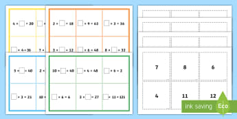 Missing Number Multiplication KS2 Bingo - Number Sentences, Maths, game, starter, times tables