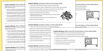 Creative Writing Prompts Handouts - creative, writing, prompts