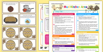 Mud Kitchen Continuous Provision Plan Poster and Challenge Cards Pack Reception FS2
