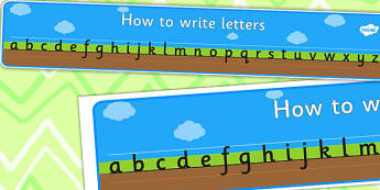 How to Write Letters Display Banner - Ground, Grass and Sky - Plain - Display banner, writing, how to write, cursive, Handwriting, Writing aid, Learning to write