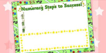Numeracy Steps To Success Sheet - maths, achievements, progress