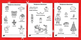 Kolorowanki Świąteczne słownictwo - kolorowanie, pokoloruj, kolorowanka, kolorowanki, do pokolorowania, przedszkole, zerówka, zero, pie