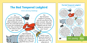 Home Learning Challenge Sheet Reception FS2 - EYFS, Eric Carle, The Bad-Tempered Ladybird, minibeasts, animals, size, time, home learning, reception,
