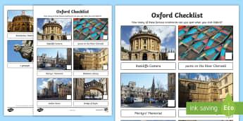 Oxford Checklist Activity Sheet - Worksheet, city, university, visit, day trip, sightseeing, landmarks, family, holidays