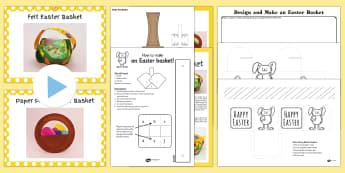 Easter Basket Resource Pack - Easter, basket, craft, cut, stick, eggs, bunny