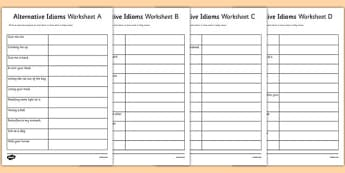 Alternative Idioms Worksheets - gaeilge, idioms, alternative phrases, discussion, meanings, group work