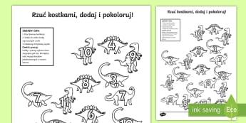 Karta Rzuć kostkami dodaj i pokoloruj Dinozaury - dinozaury, dinozaur, dino, pterodaktyl, matematyka, liczenie, dodawanie, gra, zabawa, liczby, dodaj,