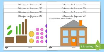 Ficha de actividad: Dibujos con figuras 2D - figuras 2D, 2D, formas, figuras planas, cuadrado, rectángulo, triángulo, círculo, ficha, activida
