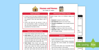 Houses and Homes Fact Sheet for Adults - EYFS, Early Years, KS1, Understanding the World, Science, exploration, discovery, finding out, facts, information,