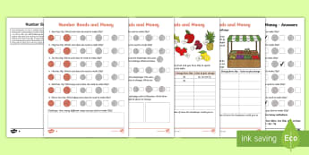 Year 2 Maths Number Bonds and Money Homework Activity Sheet - year 2, maths, homework, number bonds, money, shopkeeper, buying, paying, fruit, change, combination