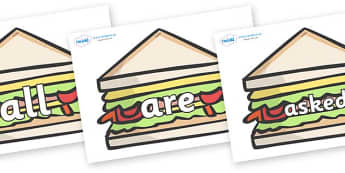 Tricky Words on Sandwiches to Support Teaching on The Lighthouse Keeper's Lunch - Tricky words, DfES Letters and Sounds, Letters and sounds, display, words