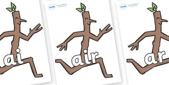 Phase 3 Phonemes on Stick Man to Support Teaching on Stick Man - Phonemes, phoneme, Phase 3, Phase three, Foundation, Literacy, Letters and Sounds, DfES, display