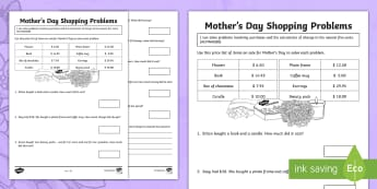 Mother's Day Shopping Problems Activity Sheet - Mother's Day Maths, maths, mother, mother's day, mum, addition, subtraction, money, shopping, mone
