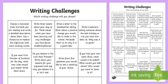 Writing Challenge Activity Sheet - CfE Writing, morning challenges, early morning work, writing challenges, second, worksheet, language