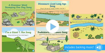 Dinosaurs Songs and Rhymes PowerPoints Pack - EYFS, Early Years, KS1, dinosaurs, prehistoric, Jurassic, pterodactyl, T.rex, tyrannosaurus rex, ple