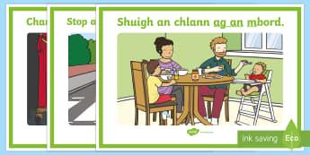 Gramadach na Gaeilge, Ag An Display Posters - Irish, Gaeilge, preposition, ag an, at the, réamhfhocail, display posters, gramadach, grammar,Irish