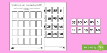 Karta Porządkowanie liczb Liczenie piątkami do 100 - pięć, przez, razy, liczenie, piątkami, do stu, sto, liczby, rosnący, porządek, porządkowanie,