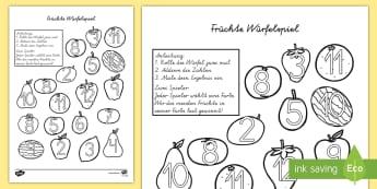 Früchte Würfelspiel: Addieren und Anmalen - Früchte Würfelspiel, Früchte, Frucht, Würfelspiel, Addieren, Anmalen, Addieren und Anmalen, Frü