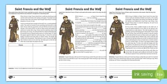Saint Francis of Assisi Writing Activity