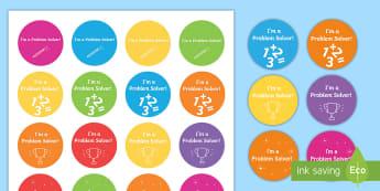 I'm a Problem Solver Stickers-Irish - ROI Numeracy - Problem Solving,Irish, problem solving, word problems, maths, stickers