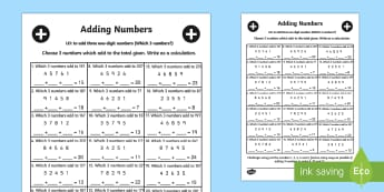 Adding Three One Digit Numbers Lesson 5 Which 3 Numbers Worksheet
