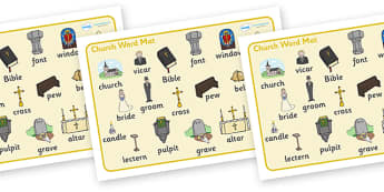 Christian Church Word Mat - Church, Christian, God Jesus, word mat, writing aid, minister, Vicar, bible, bells, organ, Sunday, cross