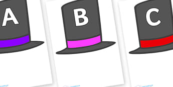 A-Z Alphabet on Top Hats - A-Z, A4, display, Alphabet frieze, Display letters, Letter posters, A-Z letters, Alphabet flashcards