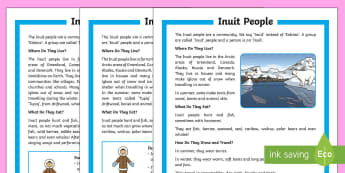 KS1 The Inuit People Differentiated Reading Comprehension Activity - Inuit, Inuk, Eskimos, The Arctic, Polar Regions, north pole, indigenous people, igloo, throat singin
