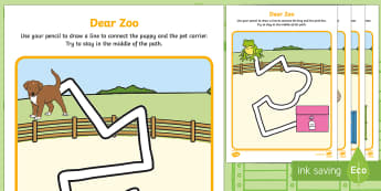Pencil Control Path Activity Sheets to Support Teaching on Dear Zoo - EYFS, Early Years, Dear Zoo, Rod Campbell, animals, letter to the zoo, zoo, PD, Physical Development