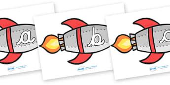 A-Z Alphabet on Rockets (lowercase cursive) - Rocket, topic, space, Alphabet frieze, cursive, Display letters, Letter posters, A-Z letters, Alphabet flashcards, moon, stars, planet, planets