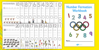 The Olympics Number Formation Workbook (0-20) -  Olympics, Olympic Games, sports, Olympic, London, 2012, Number formation, tracing numbers, tracing sheet, 0-20 tracing, 0-20, dinosaurs, number writing practice, foundation stage numeracy, writing, lea