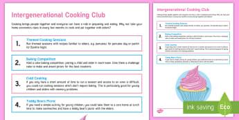 Intergenerational Cooking Club Teaching Ideas - Intergenerational Ideas, Cooking, Food, Hydration and Nutrition, deas, Activity Co-ordinators, Elder