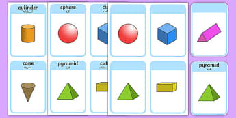 3D Shape Cards Arabic Translation - arabic, 3D Shape names, Shape Flashcards, Shape Pictures, Shape Words, 3D flashcards
